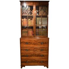 Good Mahogany George III Period Antique Secretaire Bookcase | From a unique collection of antique and modern bookcases at https://www.1stdibs.com/furniture/storage-case-pieces/bookcases/