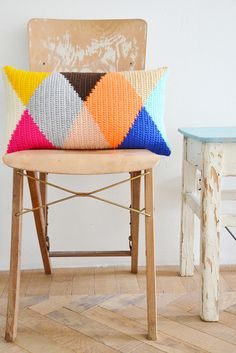 wood & wool harlequin pillow | Flickr - Photo Sharing!