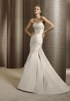 WHITE ONE Tigris Strapless Satin A-Line Wedding Gown with chapel train has a simple and smooth curves. Description from jennabridals.com. I searched for this on bing.com/images