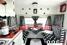 Black and white w/ red..so cute if i had a camper!