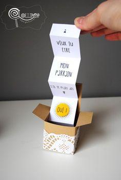 Boîte à Demande en forme de Cube kraft et dentelle : Cadeau de remerciement par lollipop-tablesgourmandes