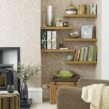 Shelved alcoves with paper behind.