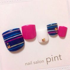#nail #summer #white #blue #studs #navy #pink #stripe