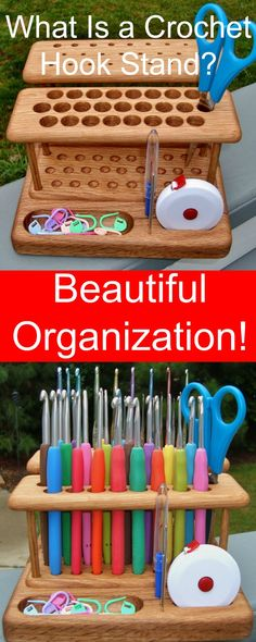 What Is a Crochet Hook Stand? I holds the most essential hooks or needles you need to create yarn crafts, either crochet or knitting. It even has extra space for scissors, measuring tape and markers.