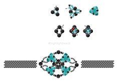 DIY Perlenarmband beaded pattern free pattern freie Anleitung Beading Patterns Free, Free Pattern, Swarovski, Schmuck Design, Beaded Jewelry, Diy, Pearl Decorations, Neck Chain, Handmade