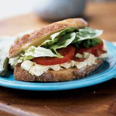 Lunch Time! BLT Egg Salad Sandwitch about 370 calories (depending on your bread) and it is packed with protein