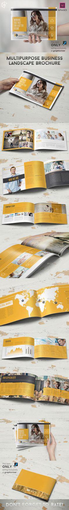 Multipurpose Business Landscape Brochure Template #design Download: http://graphicriver.net/item/multipurpose-business-landscape-brochure/10302654?ref=ksioks