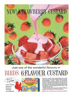 1959 Bird's Strawberry Custard ad. #vintage #food #ads #1950s
