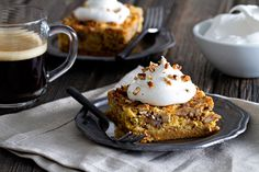 Pumpkin Crunch Cake is fall treat you'll definitely remember. Full of warm spices and topped with a dollop if whipped cream.