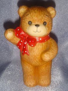 Lucy and Me Enesco Bear Standing Wearing A Red Ribbon Bow 1982
