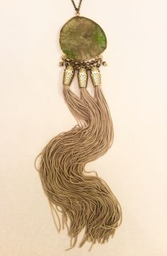 3-Snake-Head Pendant with Agate and Fringes, by Mimi Scholer