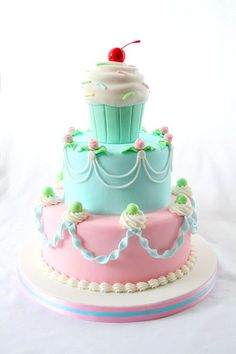 Marvelously adorable Cupcake Topped Tiered Cake. #cake #wedding #cupcake #birthday #food #decorated #cute #baking #dessert #cherry #pink #aqua #amazing