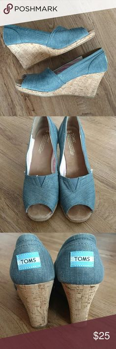 TOMS Blue Chambray Peep Toe Wedges In EUC! True to size. TOMS Shoes