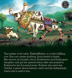 The Amar Chitra Katha Studio Kamdhenu: the wish fulfilling mystic cow Vedic Mantras, Hindu Mantras, Hindu Rituals, Hindu Culture, India Facts, Hindu Dharma, Durga Goddess, Hindu Deities, Hindu Art