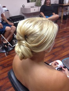 smooth and Crimped hair updo