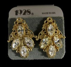 1928 Signed Earrings Lovely Vintage Inspired Gold Tone Rhinestones | eBay