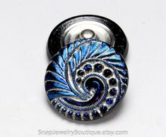 Snap button 27mm Czech glass blue silver by SnapJewelryBoutique