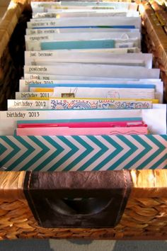 the Realistic Organizer: Love Letters: Organizing your meaningful cards and notes Greeting Card Organizer, Greeting Card Storage, Paper Organization, Organizing, Paperwork Organization, Organization Station, Craft Storage, Storage Ideas, Storage Systems