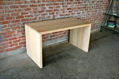 Solid Wood Waterfall Table / Desk - Handmade Your Choice of Ash or Reclaimed Wood