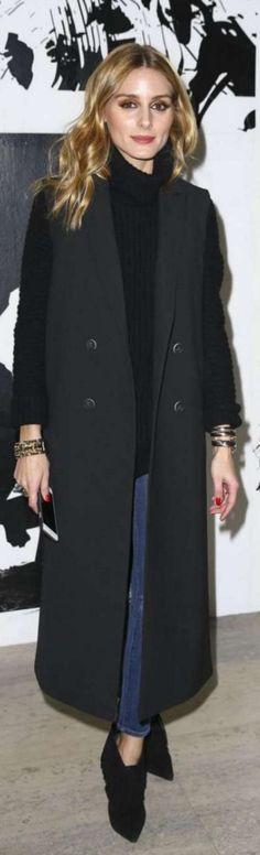 Olivia Palermo: Vest – Topshop  Sweater – Iris von Arnim  Shoes – Saint Laurent