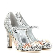 Dolce & Gabbana - Embellished Mary Jane pumps - In Dolce & Gabbana's signature feminine style, these pumps are coated in sparkling sequins and further embellished with crystals. In a dazzling silver hue, this pair is a dazzling choice after dark. Channel your inner princess and team with a sultry LBD. seen @ www.mytheresa.com