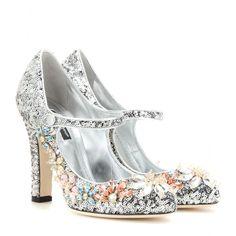 Paillettenbesetzte Pumps Aus Leder Mit Kristallen | Dolce & Gabbana ✽ mytheresa