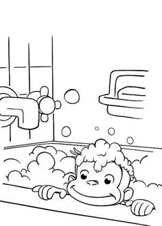 Curious George in Bathtub Coloring Page - NetArt Frozen Coloring Sheets, Printable Coloring Sheets, Mandala Coloring Pages, Coloring Pages To Print, Coloring Pages For Kids, Curious George Coloring Pages, Simple Mandala, Cute Disney Drawings, Bathtub