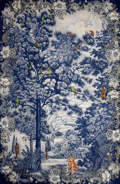 'Arcadia Redesigned' (2011) by Australian artist Danie Mellor (b.1971). Pencil, pastel, glitter, Swarovski crystal and wash on Saunders Waterford paper 152 x 100 cm. via 2headedsnake on tumblr
