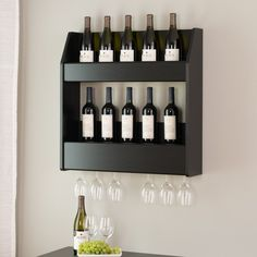 Black 2-Tier Floating Wine and Liquor Rack – Wholesale Furniture Brokers