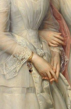 Painting_details - Heinrich August Georg Schiøtt - Danmark - Portrait of the sisters Malvina Anny Louise and Hilda Sophie Charlotte Reventlow - Detail Renaissance Kunst, Renaissance Paintings, Aesthetic Painting, Aesthetic Art, Hand Kunst, Classical Art, Old Art, Henri Matisse, Oeuvre D'art