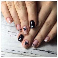 Black nails ideas, Geometric nails, Matte nails, Matte nails with glossy pattern, Nails of natural shades, Square nails, Stylish nails, Unusual nails