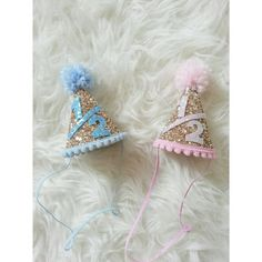 Glittery 1/2 birthday Mini Party Hats twin by Kutiebowtuties