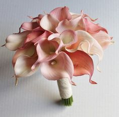 MADE TO ORDER 1 Real Touch blush pink calla lilies bridal bouquet with a brooch, satin ribbon and lace. The bouquet has been made from 23 calla