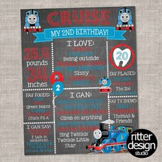 Thomas the Train Birthday Chalkboard Sign  by RitterDesignStudio
