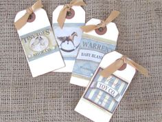 Gift Tags - Set of 4 Gift Tags - Vintage Style - Children's Theme - Rustic Look - Toy Shop Theme - Gold Ribbon