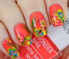 Top 14 Hibiscus Summer Nail Designs – New Cute & Simple Home Manicure Style - Easy Idea Fancy Nails, Diy Nails, Cute Nails, Pretty Nails, Nail Nail, Pretty Nail Designs, Simple Nail Art Designs, Spring Nails, Summer Nails