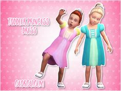 """+ georgiaglm: """" ⏩ Toddler Princess Dress ⏪ ⏩ Look at these cuties in their toddler sized princess dresses! ⏩ Click here to get the hair. ⏩ There are 3 colours included and some textures and mesh are by EA. ⏩ Download ⏪ ⏩ SimFile ⏩ Mediafire ⏩ TOU ⏪ ⏩..."""