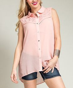 Love this Pink Sheer Embroidered Hi-Low Button-Up - Plus by Ami Sanzuri on #zulily! #zulilyfinds