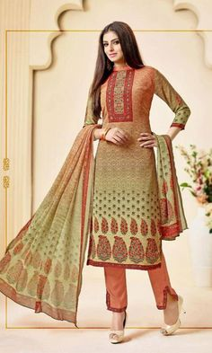 7cca18d623 Buy online Multishaded Florals Printed Peach and Green Salwar Suit (SKU Code
