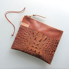 Leather zipper pouch / clutch / bag organizer handmade  by rinarts