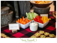 """Little Lumberjack Party Veggie """"Sticks. For more photos and ideas go to http://www.lauriebracewellphotography.com/little-lumberjack-1st-birthday-party/"""