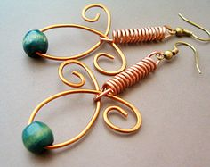 Steampunk / Wire Wrapped Earrings Copper and Green Wood Beads - Handmade Copper Earrings - Copper Jewelry