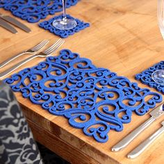 Laser-Cut Felt Placemats | laser-cut felt placemats - two pack - blue swirls by alljoy