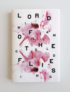 I again came across this book cover on pinterest named - Lord of the Flies - William Golding - jason booher.  I love this cover design, the black bold type scattered across the page on top of the splashed pink watercolour looks so beautiful and eye catching.