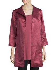 High-Collar Satin Coat, Rosewood, Petite