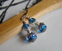 Aqua and Silver Earrings with Czech Deep Aqua/Silver Beads, Czech Capri Luster Beads, Czech Silver Beads  and Silver Accents by SmockandStone on Etsy