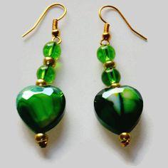 Green Glass Bead Earrings, Heart Earrings, Green Earrings, Dangle Earrings, Drop Earrings, Mother's Day Gift,Long Earrings Matching Necklace by SunMoonJewels on Etsy
