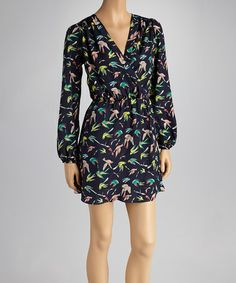 Take a look at this Navy & Green Bird Surplice Dress by Reborn Collection on #zulily today!