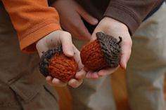 "This is a super quick knit! I've made them for present toppers and for just sweet little fall ornaments. The beauty is, if you use larger needles and thicker yarn, the acorn will be much bigger! The pattern as written makes an acorn about an inch and a half tall, not including the loop. For fun, I used a ""fuzzy"" yarn for the cap."