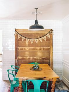 Wood and teal: http://www.stylemepretty.com/living/2015/04/20/eclectic-home-tour/ | Photography: Melissa Jill - http://www.melissajill.com/